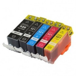 Full Colour Set of Non-OEM Ink Cartridges for CANON PGI-520/CLI-521