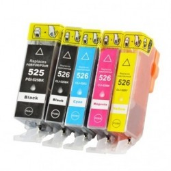 Full Colour Set of Non-OEM Ink Cartridges for CANON PGI-525/CLI-526