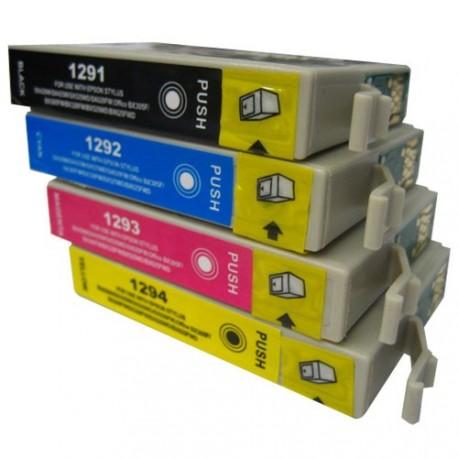 Full Set of Non-OEM Ink Cartridges for EPSON T1291-T1294