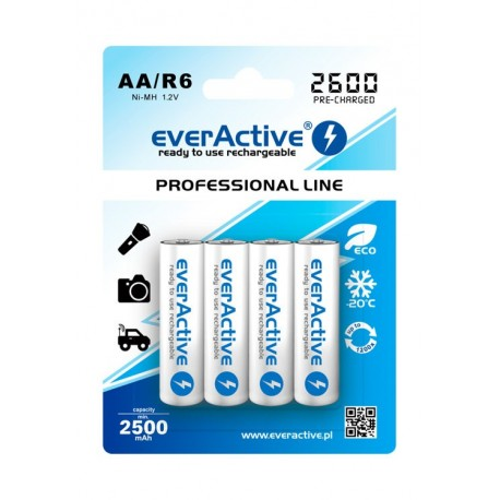 4 x Rechargeable Batteries EVERACTIVE AA (2500mAh)
